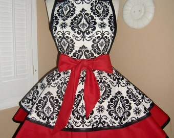 Damask Print Accented with Red Woman's Retro Apron With Tiered Skirt And Bib