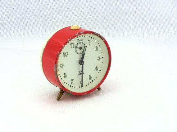 Vintage red alarm clock Vedette from France 70s