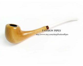 """Long Wood Smoking pipe, """"LIGHT"""" Carved Minion LADY Exclusive ...White Stem..., Tobacco Pipe/Pipes Smoking pipe."""