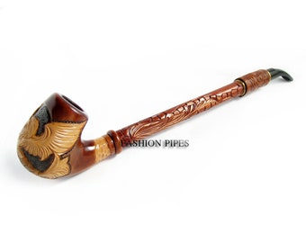 Churchwarden Wooden Pipe Decorated with Leather. US EAGLE Tobacco Pipe, Handcrafted Pipe of Pear Wood 13'', Designed for pipe smokers