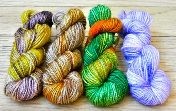 Sock Yarn Mini Skeins - Four Hand Dyed - One of a Kind - 100% Superwash Merino Wool - 45 yds each
