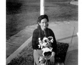 Woman with Proud Mama Dog and Puppies- 1940s Black and White Vintage Photograph