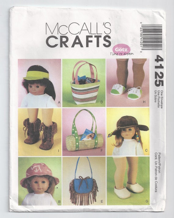 American Girl Doll Shoes Hat Bag Unused McCall's Sewing Pattern