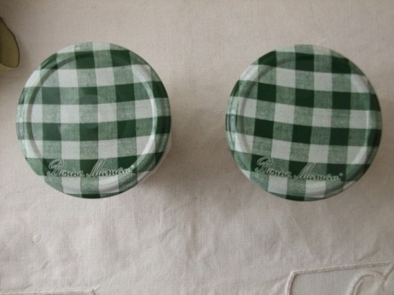 Vintage French pair of confiture jam pots.  Bonne Maman.  Country cottage chic.