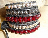 Red leather wrap bracelet - bohemian leather bracelet - red gunmetal black gray silver bracelet - romantic love heart message - WrappedInLeather
