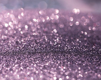 Lavender Purple Bokeh Violet Whimsical Print White Sparkle Glitter Dreamy Surreal,  Fine Art Print
