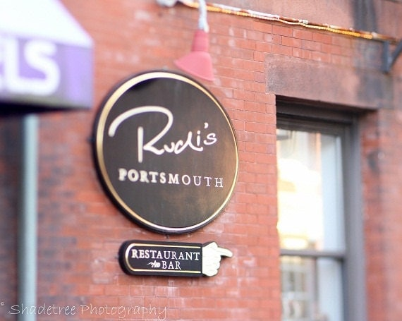 Rustic decor red black brew pub restaurant sign rudis