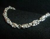 Sterling silver spaced byzantine bracelet