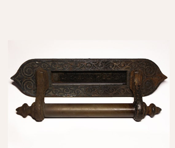Vintage french Victorian Cast iron - LETTRES - Letter Mail slot with Brass door handle - Industrial LOFT