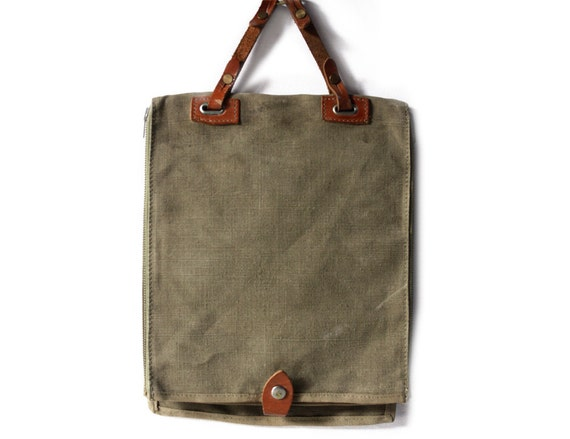 Vintage Canvas and leather French army Briefcase  - Shabby Chic - IPAD - IPHONE