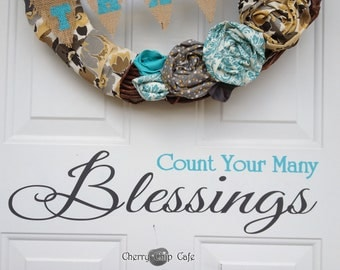 Thanksgiving Wall Decal- Count Your Many Blessings- Vinyl Wall Saying