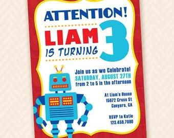 Robot Birthday Party Invitation Design