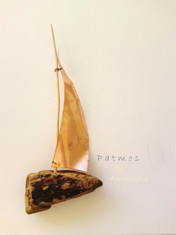 Driftwood sailboat -driftwood art- sailboat with copper sail - wall hanging - ready to ship
