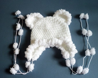 Baby Girl Hat, Crochet Baby Girl Hat, White Earflap Hat, Newborn, Infant, Baby Girl