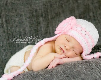 Crochet Newborn Hat, Baby Girl Hat, Girl Hat In Pink And White