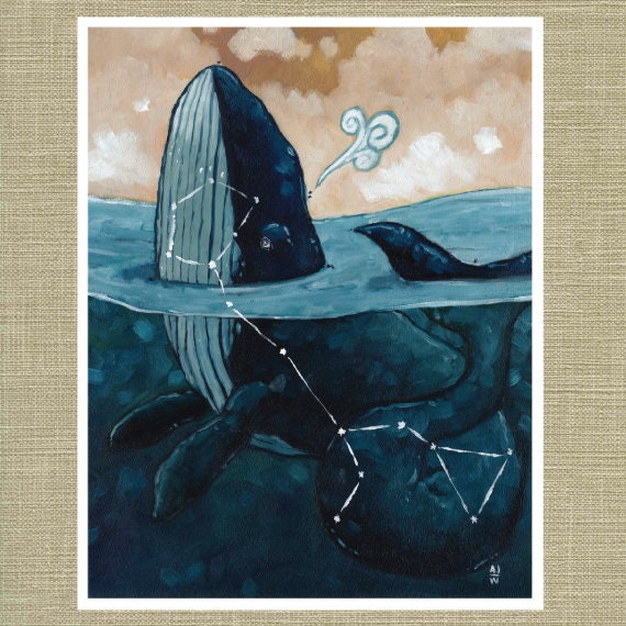 "Cetus the Sea Monster - Constellation Fauna Series Fine Art Print 11"" x 14"""