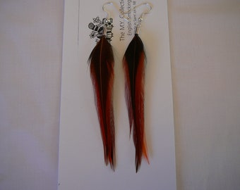 1     Set   Furnace Feather Earings .......Accents to your Feather Hair Extension By The MyCollection2