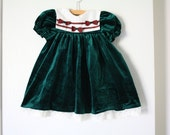 Green Velvet Holiday Dress, Baby Toddler Girls Size 2T