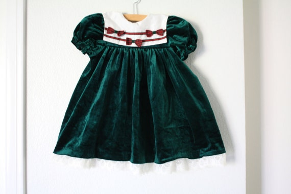 Items similar to Green Velvet Holiday Dress Baby Toddler