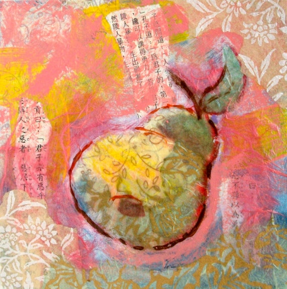 Original, Abstract, Collage, Painting, Pear, Mixed Media Art, Home Decor, Pink, Yellow, Light Green, 6 x 6