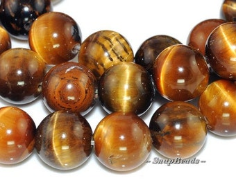 8MM Cognac Tiger Eye Gemstone Round 8MM Loose Beads 15.5inch Full Strand (90165014-1)