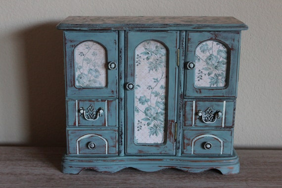 Beautiful Large Painted Distressed Duck Egg Blue Vintage Jewelry Box