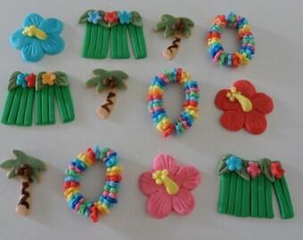 Fondant Hawaiian Luau Cupcake Toppers