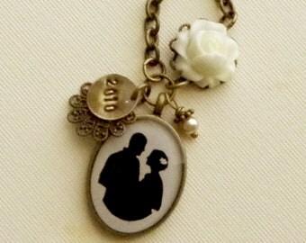 Custom Bride and Groom Silhouette Wedding Keepsake Pendant Necklace in Antique Brass Finish
