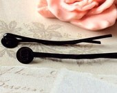 45 mm Black Color  Bobby Pins With 7 mm Round Pad (.mh)