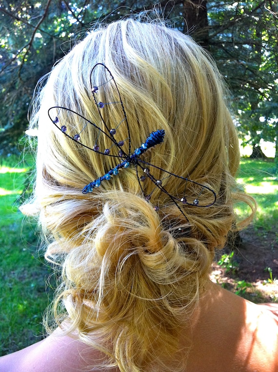 Wire Dragon Fly hair Comb - Blue and Purple