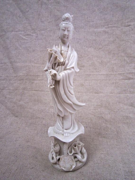 Old Blanc De Chine Kwan Yin Figurine