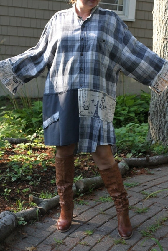 Blue tag- Plaid Land / Upcycled / Shirt / Oversized /  One of a kind by Dvoika