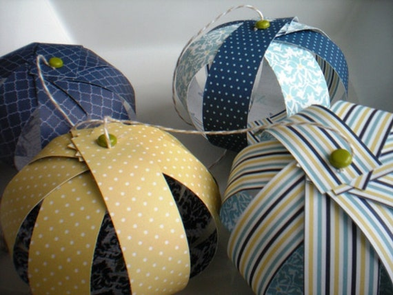 Hanging Paper Lanterns-Blue and Yellow Set of 4 Lanterns