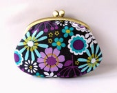 Coin purse Purple Lilac daisy Flowers Turquoise blue Cosmetics case