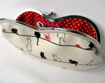 Black cat soft eyeglass case Glasses case Kiss lock purse Cat lover gift