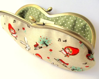 Glasses case Eyeglass case Metal frame kiss lock purse Red Riding Hood Woodland Fairy tale Neutral Olive green