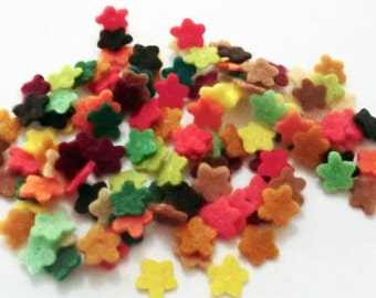 Mini felt flowers, set of 100 pieces, size 7mm