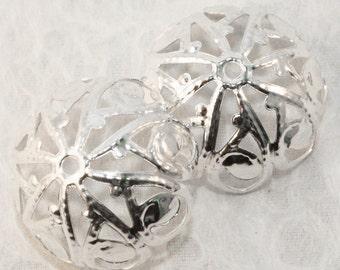 Silver Filigree Iron Bead Caps 20mm (50 pcs)S9
