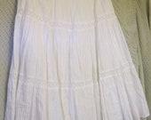 Skirt Boho skirt tiered boho skirt white silver thread lined cotton lace women girls