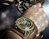 Fully Functioning Sci-fi Steampunk Watch - Tan leather with brass casing and red/orange LED's - RubbertoeReplicas