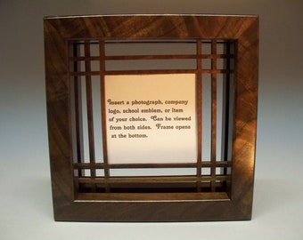 Figured Walnut Photograph Frame, Business Card Display, Frame, Wedding Gift, Handmade Frame, Graduation Gift, Home Decore, Picture Frame.