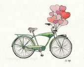 Fine Art Giclee Print, Vintage Green Bike with Pink Heart Balloons Watercolor and Ink Painting, 8x10
