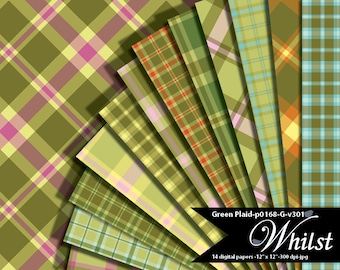 Green, aqua, and pink colors digital plaid paper, geometric background paper pack : p0168 & G v301