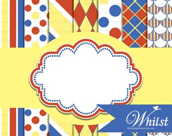 Blue Yellow Red digital paper pack and frame clip art : p0220 3s021025 IP