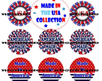 Momma Eva's --Made In The USA CollecTioN /  / 4 x 6  / 1 in Circles /  DIY / Bottle Caps / Patriotic