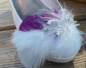 Ivory Plum Bridal Feathered Shoe Clips - set of 2 - Sparkling Crystal Rhinestone Accents wedding shoe clips