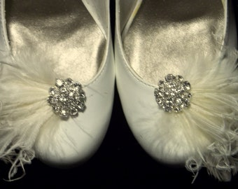 Bridal Feathered Shoe Clips - set of 2 - Ivory Feathers, Rhinestone Accents - Shoe Clips, ivory shoe clips