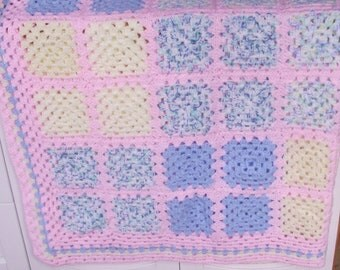vintage large hand croched granny square afghan / throw / pastel colours / retro