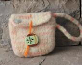 Hand Knit Felted Wool Wristlet - Needlefelted Bird - Orange Sherbert