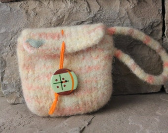 Hand Knit Felted Wool Wristlet - Needlefelted Bird - Orange Sherbert